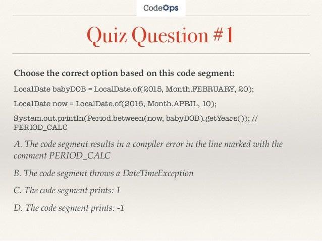Dating questions quiz java