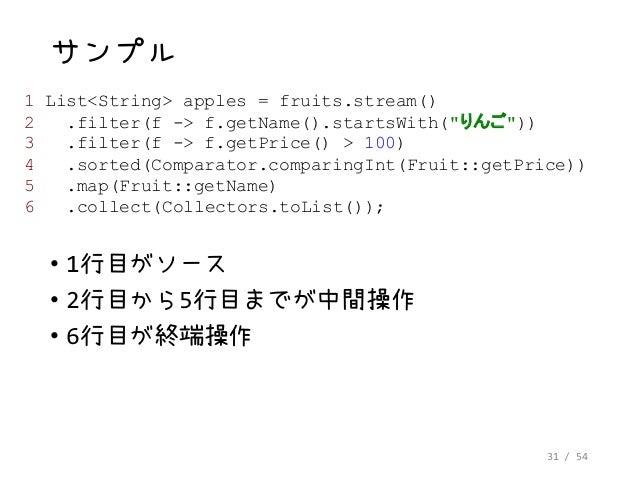 31 / 54 サンプル • 1行目がソース • 2行目から5行目までが中間操作 • 6行目が終端操作 1 List<String> apples = fruits.stream() 2 .filter(f -> f.getName().sta...