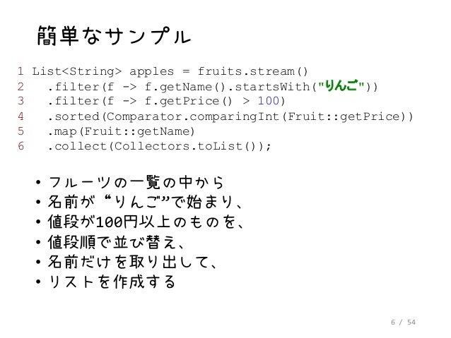 """6 / 54 簡単なサンプル • フルーツの一覧の中から • 名前が""""りんご""""で始まり、 • 値段が100円以上のものを、 • 値段順で並び替え、 • 名前だけを取り出して、 • リストを作成する 1 List<String> apples =..."""