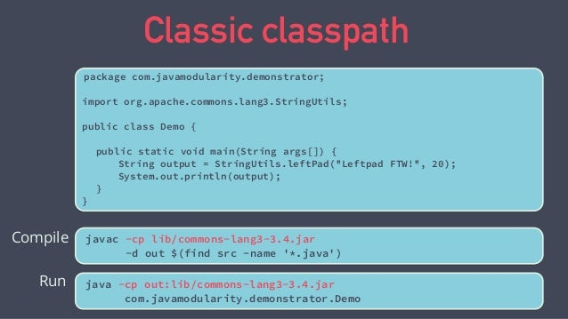 Top down migration commons.lang3.3.4.jar demonstrator.jar classpath java.base module path Can't reference the classpath fr...