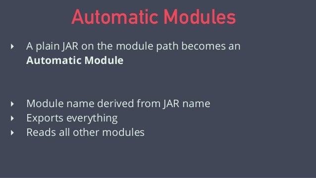 module demonstrator { requires commons.lang; } Using Automatic Modules javac --module-path lib --module-source-path src -d...