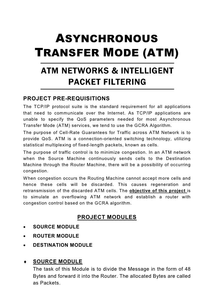 ASYNCHRONOUS      TRANSFER MODE (ATM)         ATM NETWORKS & INTELLIGENT              PACKET FILTERING PROJECT PRE-REQUISI...