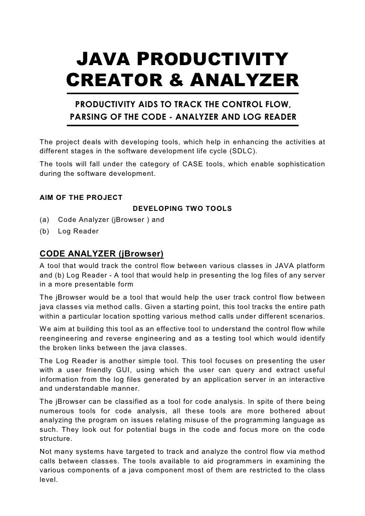 Java Abs Java Productivity Creator & Analyzer