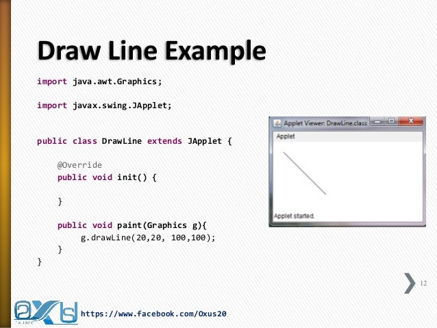 Drawing Lines Java Applet : Java applet and graphics