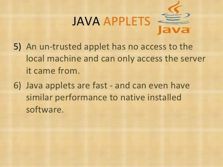 java applets Java applets please note: the applets will not work with all of the current versions of browsers and operating systems they work best with older software particularly of java.