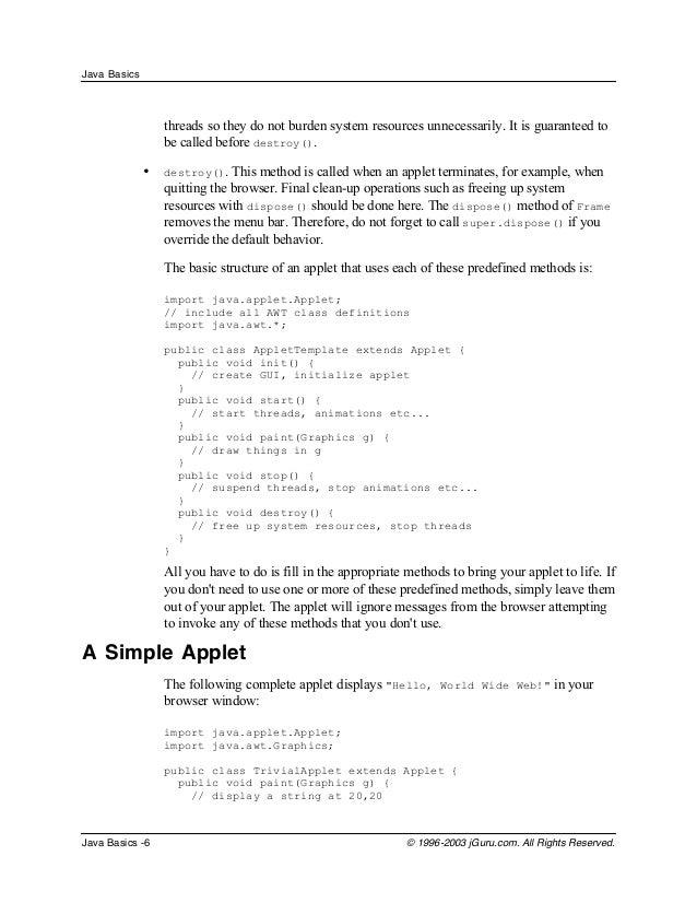 java basics tutorial for beginners pdf