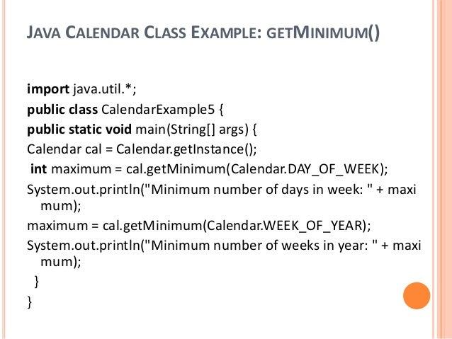 Java calendar