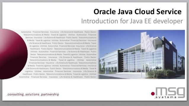 Oracle Java Cloud ServiceIntroduction for Java EE developer