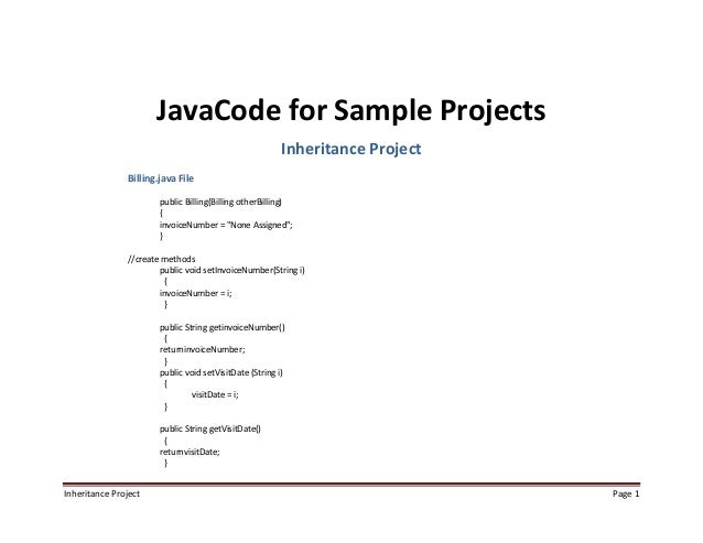 Java Code for Sample Projects Inheritance
