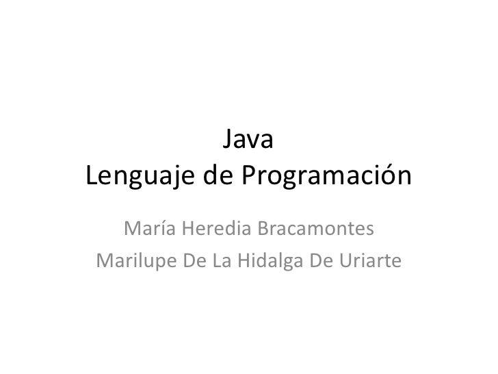 Java Lenguaje de Programación <br />María Heredia Bracamontes<br />Marilupe De La Hidalga De Uriarte <br />