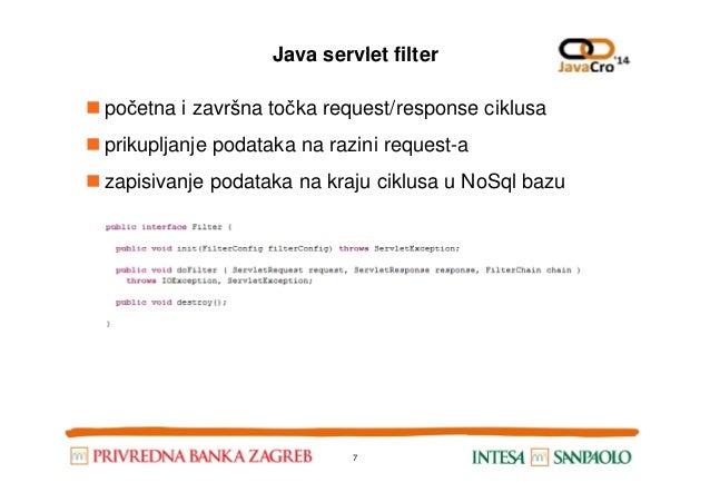 Java servlet filter početna i završna točka request/response ciklusa prikupljanje podataka na razini request-a zapisivanje...