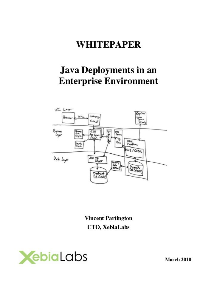 WHITEPAPER  Java Deployments in an Enterprise Environment          Vincent Partington       CTO, XebiaLabs                ...