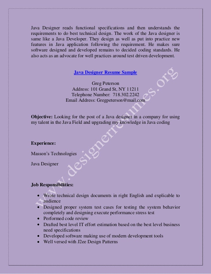 java designer resume