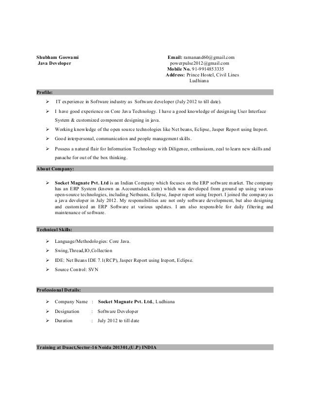 Resume Sample Resume Of Junior Java Developer junior java developer resume free pdf downlaod incredible shubham goswami email ramanand60gmailcom powerpulse2012gmailcom pl sql sample resumes
