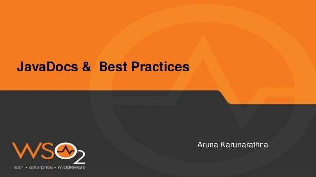 Aruna Karunarathna JavaDocs & Best Practices