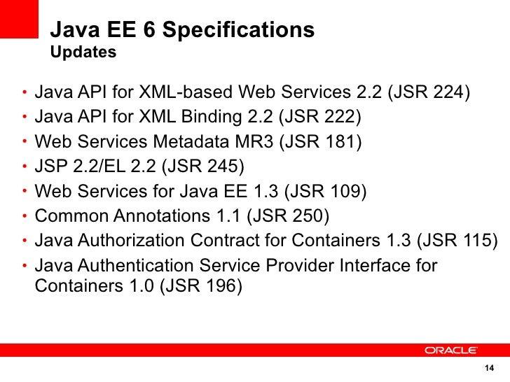 Java EE 6 Specifications    Updates  • Java API for XML-based Web Services 2.2 (JSR 224) • Java API for XML Binding 2.2 (J...
