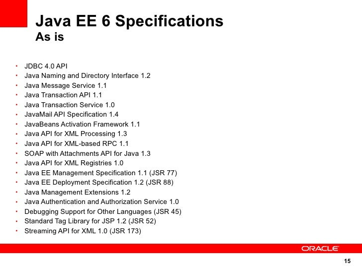 Java EE 6 Specifications        As is  •   JDBC 4.0 API •   Java Naming and Directory Interface 1.2 •   Java Message Servi...