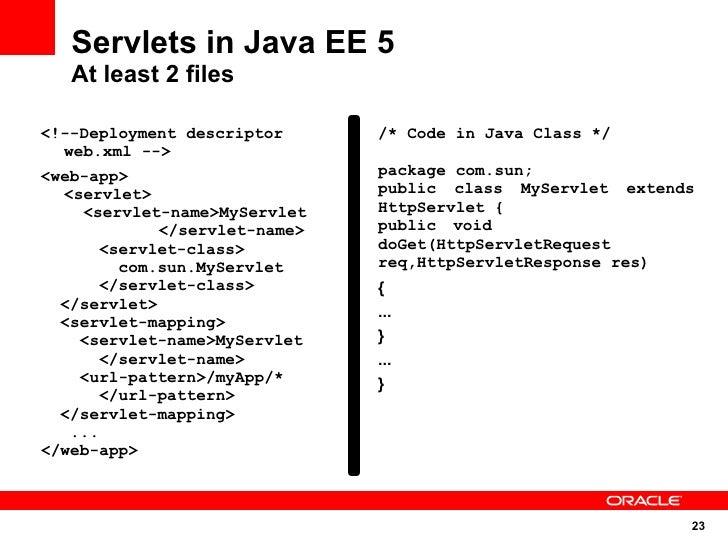 Servlets in Java EE 5    At least 2 files  <!--Deployment descriptor      /* Code in Java Class */   web.xml --> <web-app>...