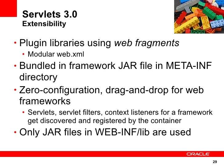 Servlets 3.0  Extensibility  • Plugin libraries using web fragments  • Modular web.xml • Bundled in framework JAR file in ...
