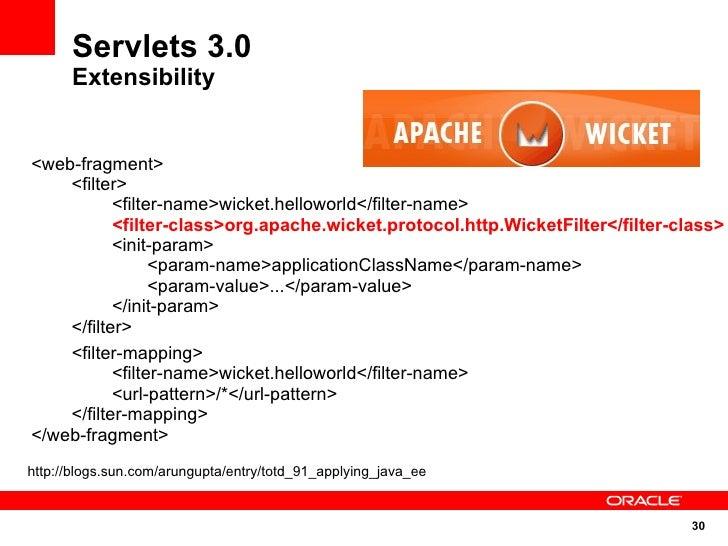 Servlets 3.0       Extensibility   <web-fragment>     <filter>            <filter-name>wicket.helloworld</filter-name>    ...