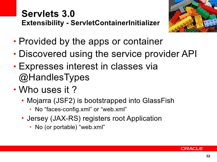 Servlets 3.0  Extensibility - ServletContainerInitializer  • Provided by the apps or container • Discovered using the serv...