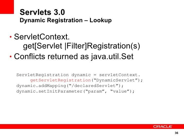 Servlets 3.0    Dynamic Registration – Lookup  • ServletContext.     get[Servlet |Filter]Registration(s) • Conflicts retur...