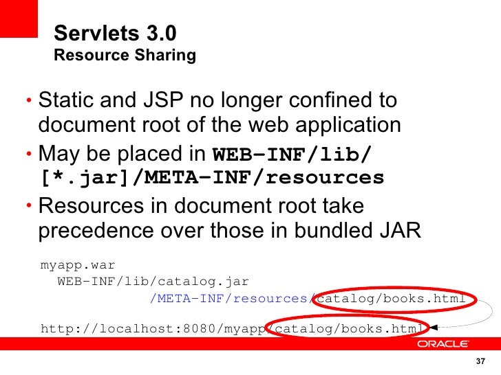 Servlets 3.0   Resource Sharing  • Static and JSP no longer confined to   document root of the web application • May be pl...