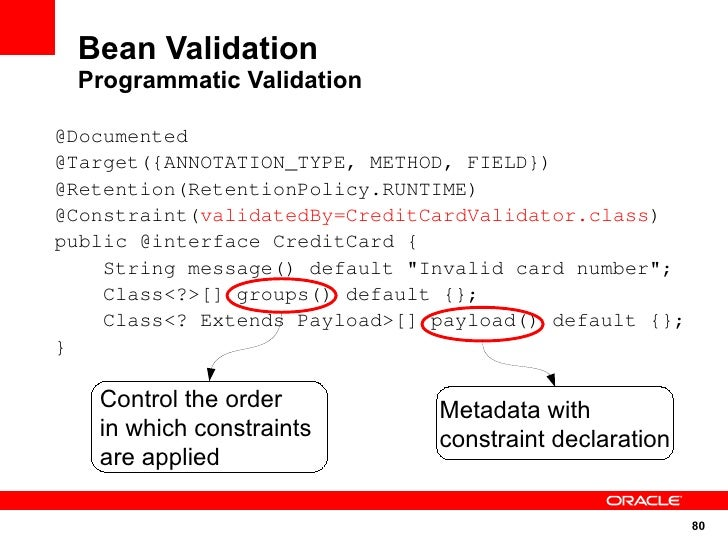 Bean Validation  Programmatic Validation  @Documented @Target({ANNOTATION_TYPE, METHOD, FIELD}) @Retention(RetentionPolicy...