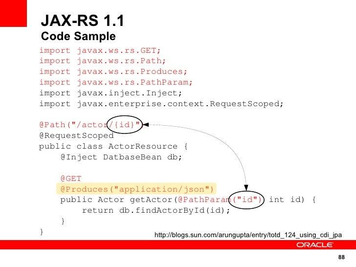 JAX-RS 1.1 Code Sample import   javax.ws.rs.GET; import   javax.ws.rs.Path; import   javax.ws.rs.Produces; import   javax....
