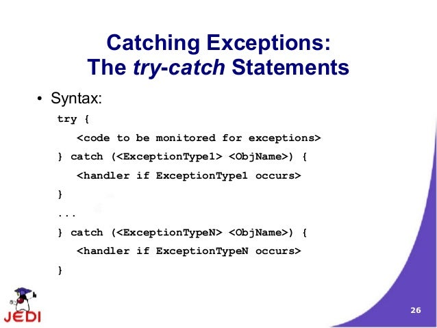 java exception handling I'm happy to announce that an other improvement from the project coin has be  marked for inclusion in java 7 : improved exception handling.