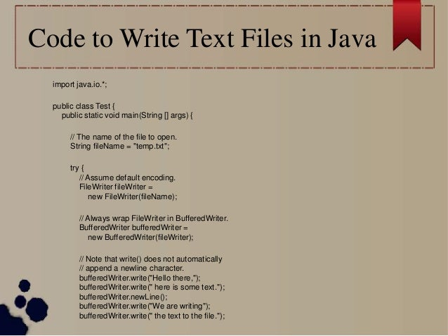 writing to a file in java I use asposecells for java api for managing my excel files including reading and writing, this api offers many more features and options like updating, converting and rendering images in excel file and you can find code sample for all the features in their documentation section.