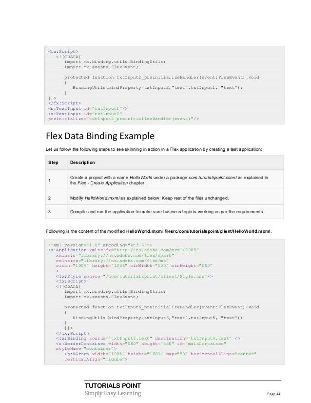 Java flex tutorial