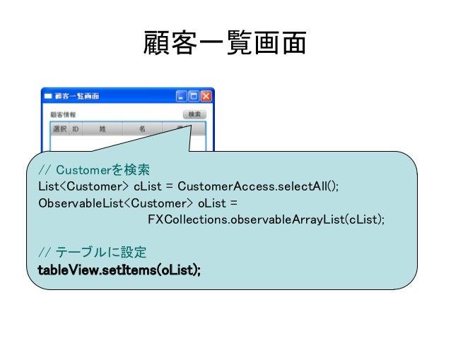 顧客一覧画面// Customerを検索List<Customer> cList = CustomerAccess.selectAll();ObservableList<Customer> oList =                 FXC...