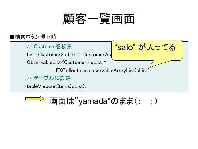 """顧客一覧画面■検索ボタン押下時   // Customerを検索                      """"sato"""" が入ってる   List<Customer> cList = CustomerAccess.selectAll();   ..."""