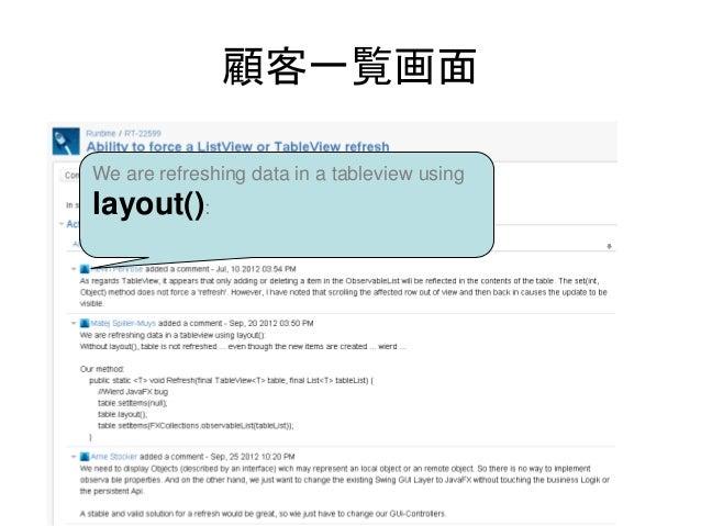 顧客一覧画面We are refreshing data in a tableview usinglayout():