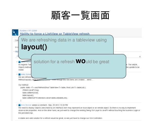 顧客一覧画面We are refreshing data in a tableview usinglayout():      solution for a refresh would be great