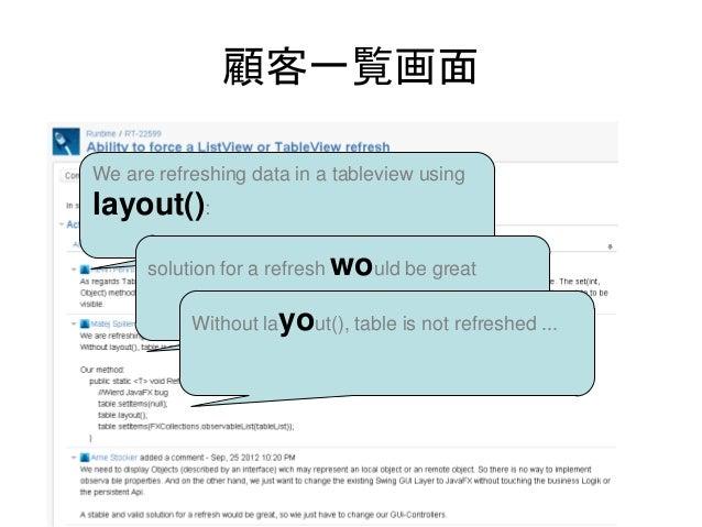 顧客一覧画面We are refreshing data in a tableview usinglayout():      solution for a refresh would be great           Without la...