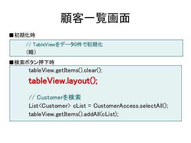 顧客一覧画面■初期化時   // TableViewをデータ0件で初期化   (略)■検索ボタン押下時   tableView.getItems().clear();   tableView.layout();   // Customerを検索...