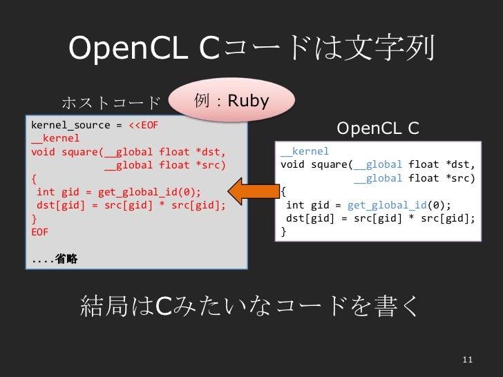 OpenCL Cコードは文字列    ホストコード                例:Rubykernel_source = <<EOF__kernel                                            Op...