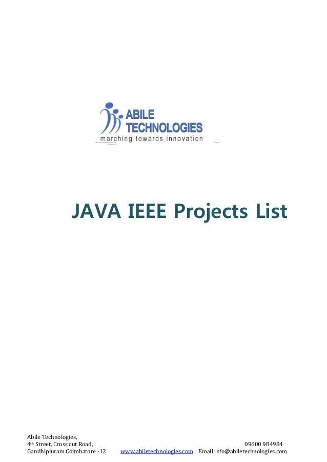 Abile Technologies, 4th Street, Cross cut Road, 09600 984984 Gandhipiuram Coimbatore -12 www.abiletechnologies.com Email: ...