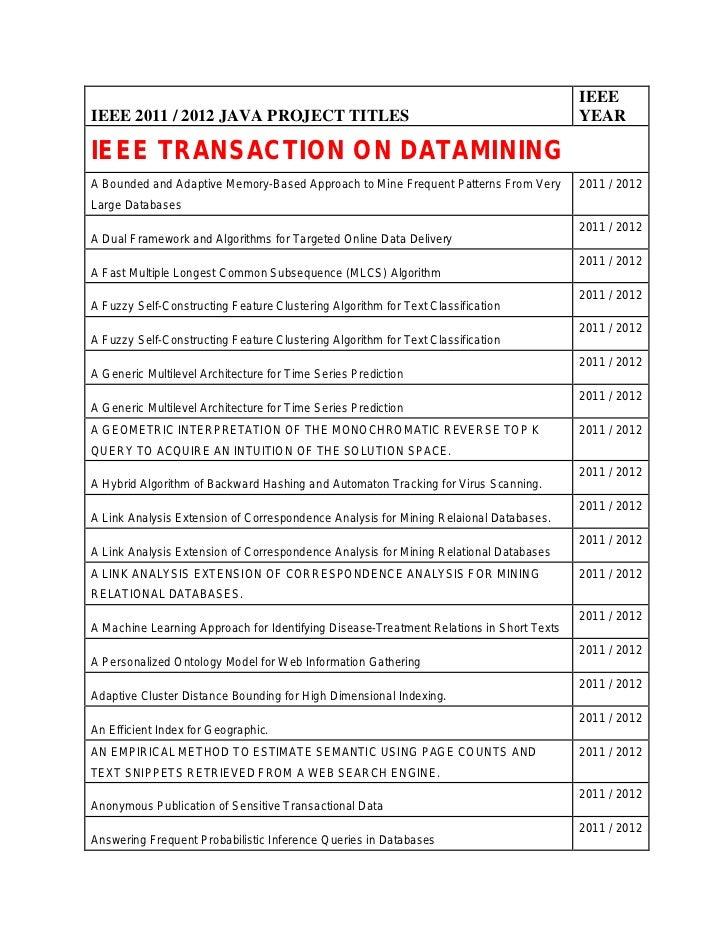 IEEEIEEE 2011 / 2012 JAVA PROJECT TITLES                                                     YEARIEEE TRANSACTION ON DATAM...