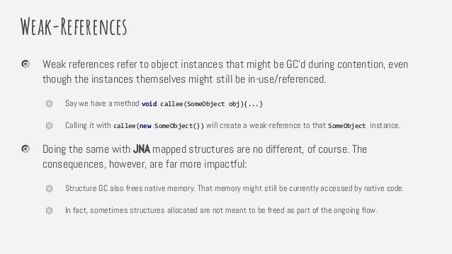 Weak-References Weak references refer to object instances that might be GC'd during contention, even though the instances ...