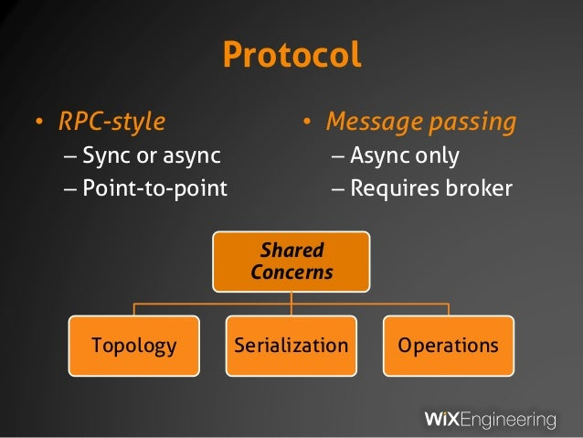 Protocol • RPC-style – Sync or async – Point-to-point • Message passing – Async only – Requires broker Shared Concerns Top...