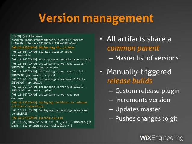 Version management [INFO] QuickRelease /home/builduser/agent01/work/d9922a1c87aee4bb bf1bc8bcfb2eccebc4268651c5f19faa689be...