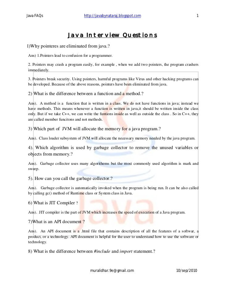 Java Interview Questions by NageswaraRao