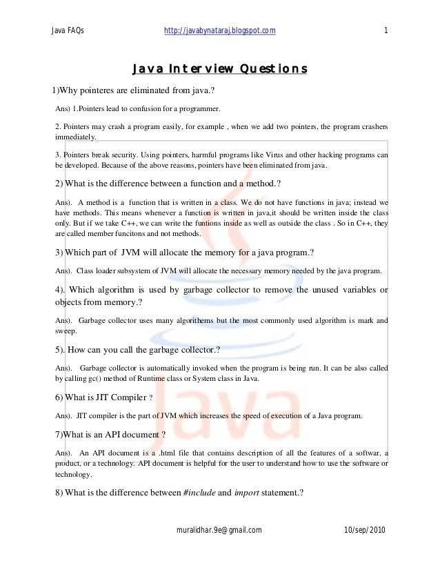 Java FAQs                         http://javabynataraj.blogspot.com                                    1                  ...