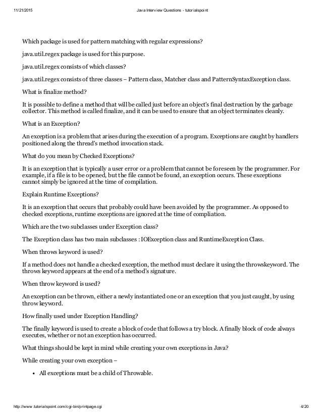 Java interview questions tutorialspoint