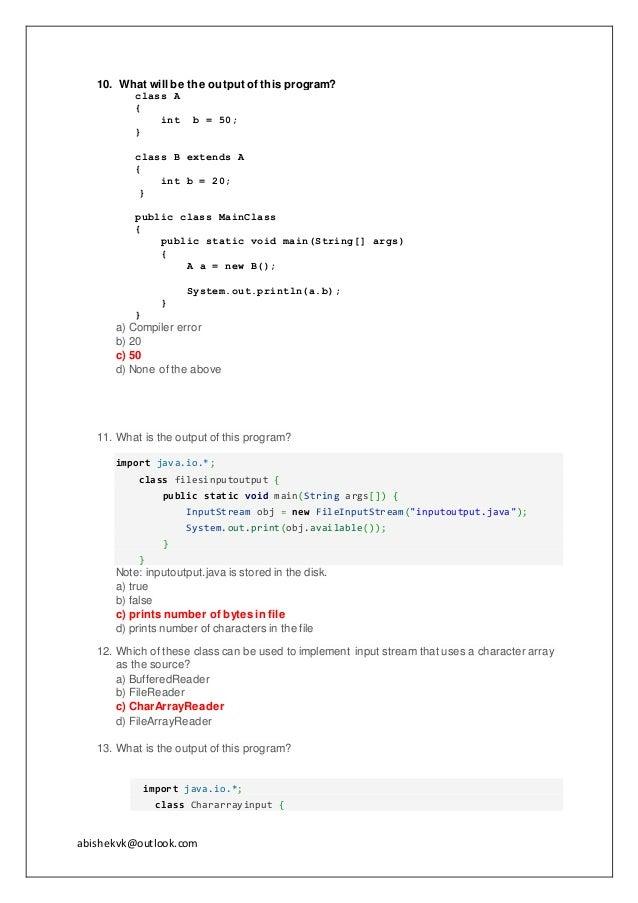 Java multiple choice