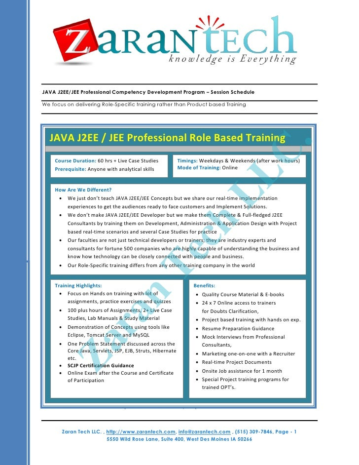 JAVA J2EE/JEE Professional Competency Development Program – Session ScheduleWe focus on delivering Role-Specific training ...