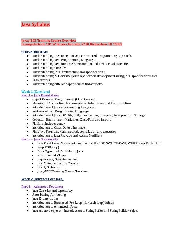 Java J2EE Complete Syllabus Checklist